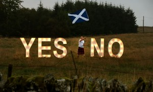Scottish independence referendum signs near Dunblane